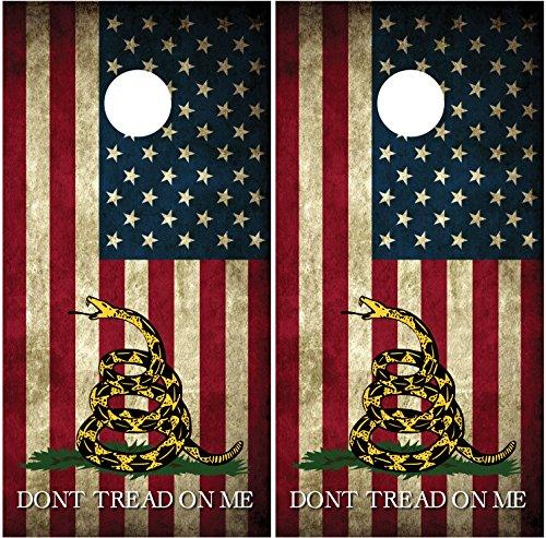 Gadsden Flag American Flag 2 Dont Tread On Me LAMINATED Cornhole Board Decal Wrap Wraps