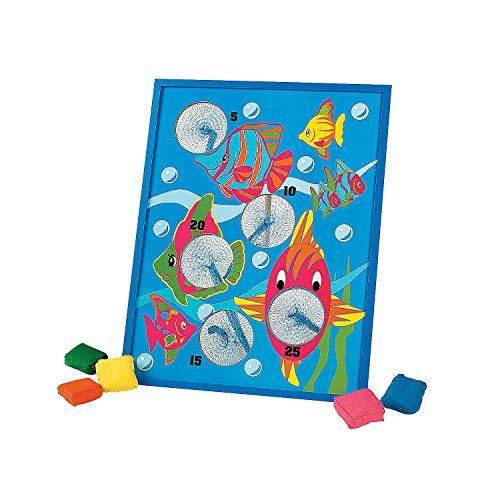 Fun Express - Tropical Fish Bean Bag Toss Game for Party - Toys - Games - Bean Bag Toss - Party - 7 Pieces