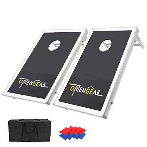 ORIENGEAR 3x2 Portable Cornhole Game Set Bean Bag Toss Game with 8 Bean Bags Carrying Case Aluminum Frame MDF Board