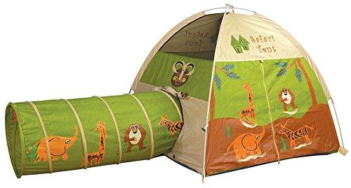 Pacific Play Tents 20435 Kids Safari Fun Dome Tent Crawl Tunnel Combo Indoor  Outdoor Fun