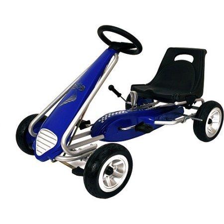 Sporty Steering Wheel Kiddi-o Pole Position Pedal Car Ride-On Blue