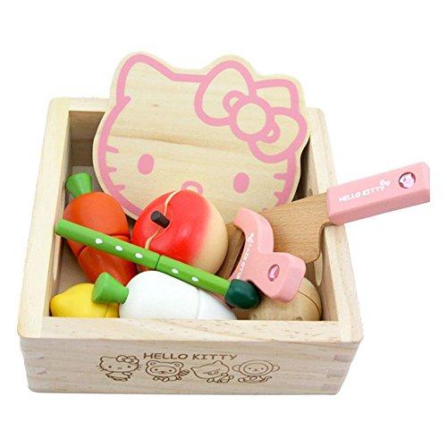 Pink KT Cat VegetableFruit Play Food Wooden Toys