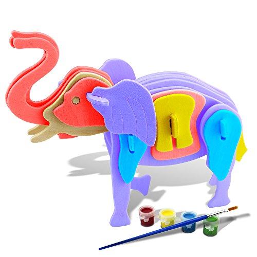 Bfun Woodcraft 3D Puzzle Assemble and Paint DIY Toy Kit Elephant