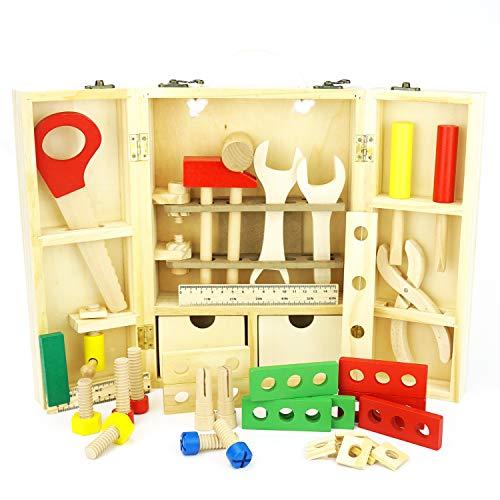 Genius Art 43 PCs Toddler Tool Set  Tool Box Wooden Toys Set  Kids Tool Kits  Pretend Playset Gift for Kids