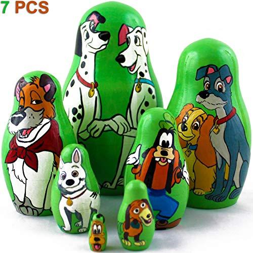 Matryoshka Dolls Famous Dogs from Disney Cartoons Set 7 pcs Wooden Toy