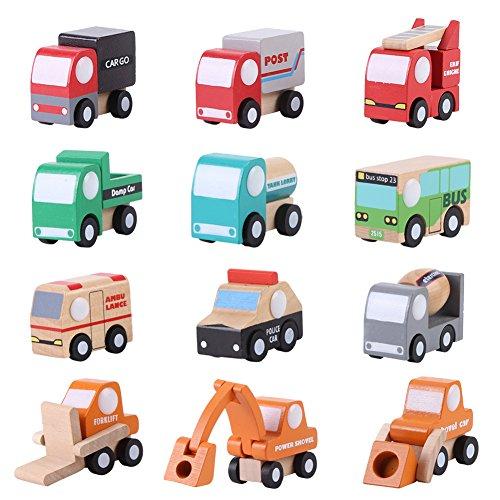Yosoo 12 PCS Wooden Town Vehicles Set Wooden Toys Set Toy Car Truck Wood Push Toys Educational Traffic Toys Children Gift Mini Car Model Construction Toy Train Sets