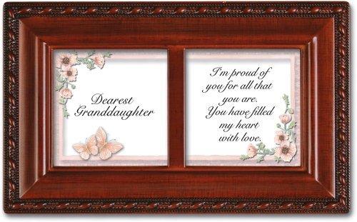 Dearest Granddaughter Petite Woodgrain Music Jewelry Box Plays Light Up My Life