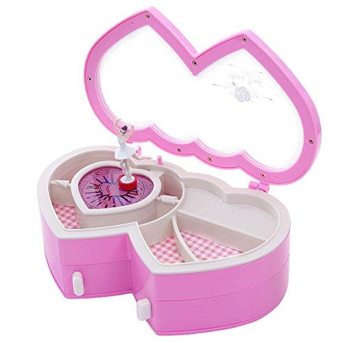 SONGMICS Ballerina Music Jewelry Box Heart Shaped Fur Elise Tune Pink UJMC02P