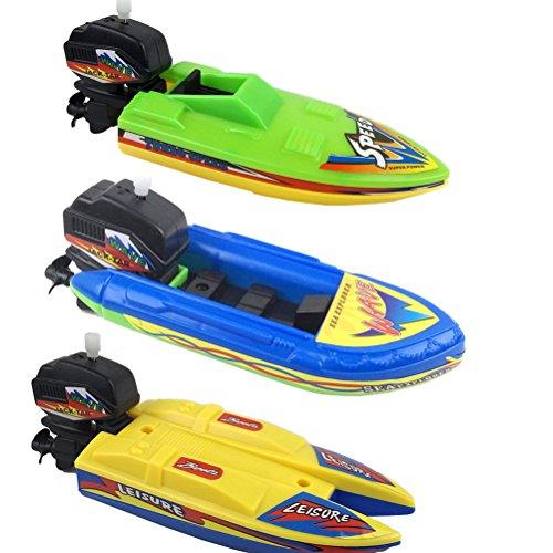 Jiabetterniu 3 Pcs Swimming Boat Wind Up Bath Toys Floating Wind-Up Bathtub Fun Boats Toys Tub Pool Playset Clockwork Play Kid Educational Water Toy Party FavorsColor Random by