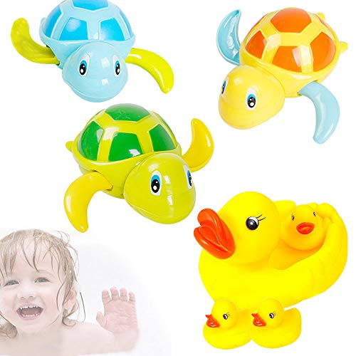 Zilong 7 Pcs Baby Bath Toys Toddlers Bathing Toys Baby Swimming Toys Baby Water Toys Wind Up Turtle Rubber Duck Animal Bath Toys Set Floating Toys Bathtub Toys for Baby Toddlers Kids Boys Girls