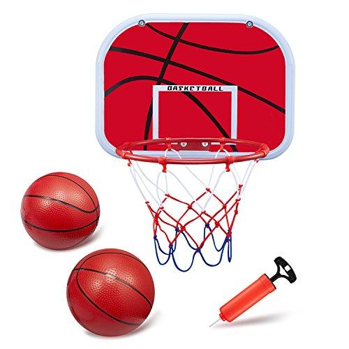 BESTTY Mini Basketball Hoop Set 134x98 Backboard Backboard with Metal Rim and Hanging Basketball Board Toy with 2PCS Toy Basketballs and Air Pump