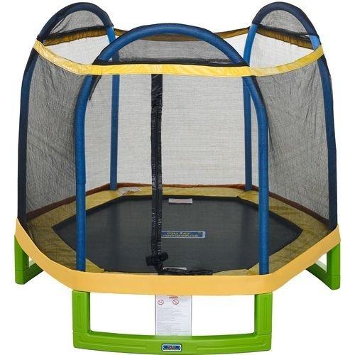 Jump ZoneTM Indoor  Outdoor 7 Round Kids Trampoline with Safety Enclosure Net
