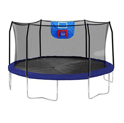 Skywalker Trampolines Jump N Dunk Trampoline with Safety Enclosure and Basketball Hoop Blue 15-Feet