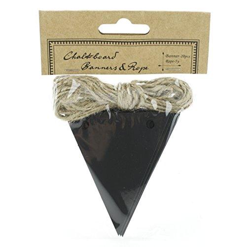 Kel-Toy Chalkboard Triangle Banner with 5 Yard Jute Rope- RNUM-Pack of 20 25 X 3 RNUM-Feet Pennants