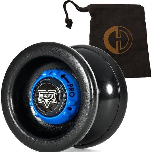YoYo Factory Velocity YoYo - Quality Pro Responsive Unresponsive Yo-Yo with String and Cascade Juggling Bag Black by Yo Yo Factory