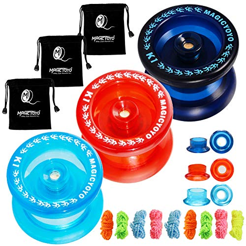 CHEE MONG Responsive Yoyo Pack of 3 MAGICYOYO K1-Plus Yoyo Dark Blue Red Crystal Blue for Kids Beginner with 3 Yoyo Bags 9 Yoyo Replacement Strings for Thanksgiving Gift