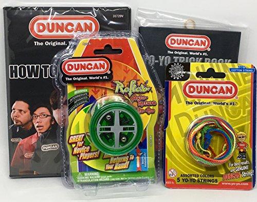 Duncan Beginner YoYo Kit 4 Items - Green Reflex Yo-Yo Multi-Color Yo-Yo String 5 Pack Yo-Yo Trick Book and How to Be A Yo-Yo Ninja DVD