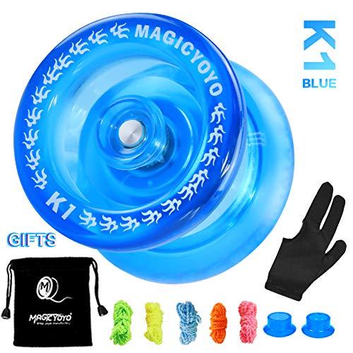 MAGICYOYO Responsive Yoyos K1-Plus for Kids Beginner Plastic Yoyo with Yoyo Sack  5 Yoyo Strings  Yo-Yo Glove Hubstack Gift Crystal Blue