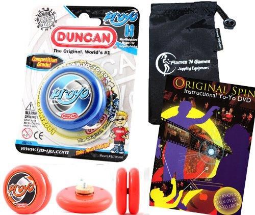 Duncan PROYO YoYo Blue Pro String Trick YoYos with Travel Bag  75 Yo-Yo Tricks DVD Pro YoYos For Kids and Adults