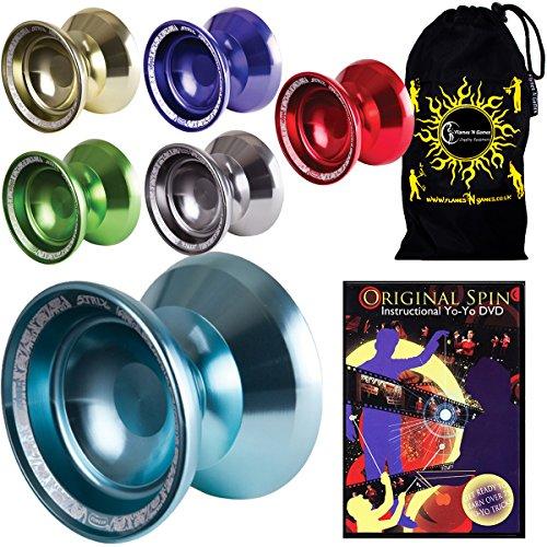 Duncan Strix Medium Advanced Double Competition Model Yoyo - Supreme Quality Aluminium Medium Yo Yo For 1A3A Tricks  Original Spin DVD Travel Bag Blue