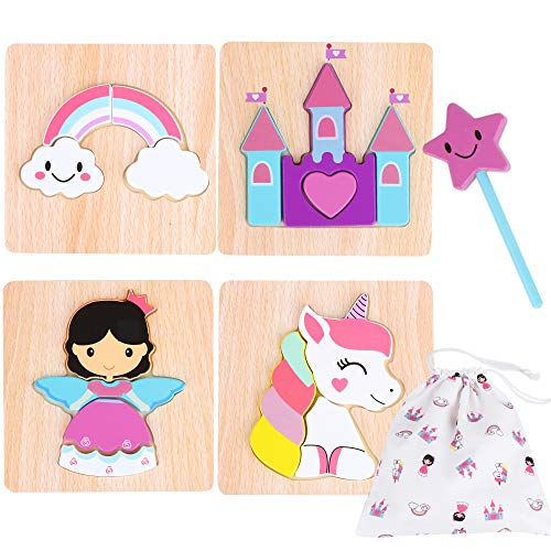 Toddler Wooden Jigsaw Puzzles Chunky - 4 Pack with Extra Magic Wand Educational Toys for Preschool Kids Ages 1 2 3 Year Old Girl Gifts with Matching Canvas Bag - Rainbow Unicorn Castle Set