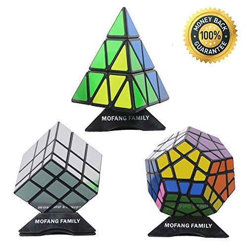 MOFANG FAMILY Set of 3 Pyraminx Megaminx Silver Mirror Speed Puzzle Cube