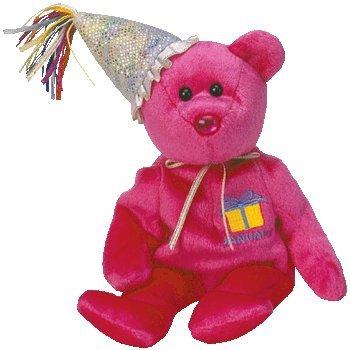 TY Beanie Baby - JANUARY the Teddy Birthday Bear w hat