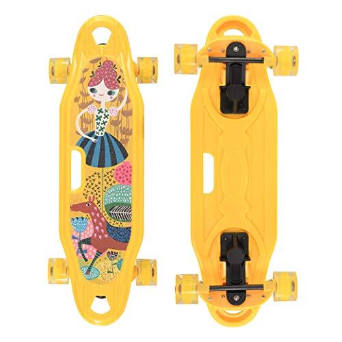 JIKE SLIDE 25 inch Complete Skateboards Skateboard for KidsBoysGirlsYouthAdults Tricks Skate Board for Beginners Pro Standard SkateboardYellow