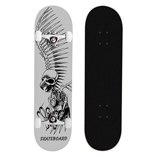 MammyGol Standard Skateboards 31x 8 Complete Skateboard Cruiser 9 Layer Canadian Maple Double Kick Concave Standard and Tricks Skateboards for Beginner and ProGray Skull