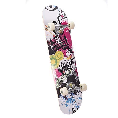Pro SkateboardStandard Skateboards31x8 Inch Maple Double Kick Deck Concave SkateboardsComplete Skateboards for Children And Adults Black