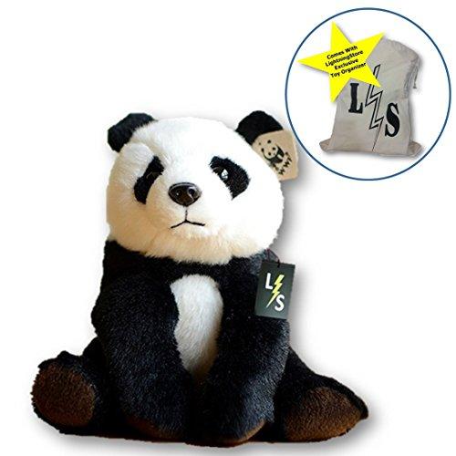 LightningStore Adorable Cute Sitting Panda Stuffed Animal Doll Realistic Looking Plush Toys Plushie Childrens Gifts Animals  Toy Organizer Bag Bundle