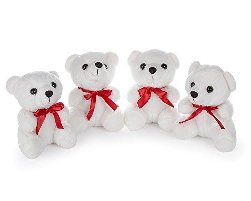 Redi Plush 5 Mini Stuffed Teddy Bears White - Set of 4