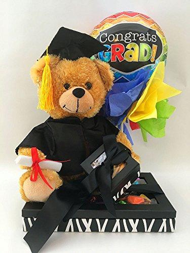 Graduation 2017 Congrats Grad Black Teddy Bear Gift Basket Bundle