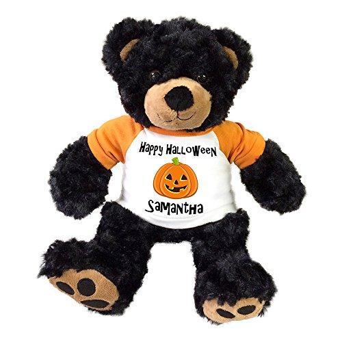Personalized Halloween Teddy Bear - 13 Inch Black Vera Bear