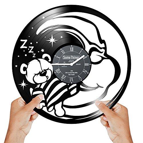 Teddy Bear Clock - Vinyl clock - Nursery Wall Clock - Bear Clocks for Kids - Moon Clock for Kids Room - Nursery Bear Clock - Baby Girl Nursery Wall Clock - Bears Clock Wall Décor Nursery Gift Black