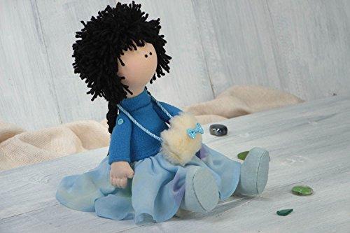 Handmade Cute Soft Toy Textile Designer Doll Unusual Stylish Interior Decor
