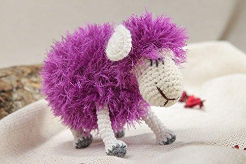 Handmade Cute Soft Toy Violet Fluffy Lamb Crocheted of Woolen Threads