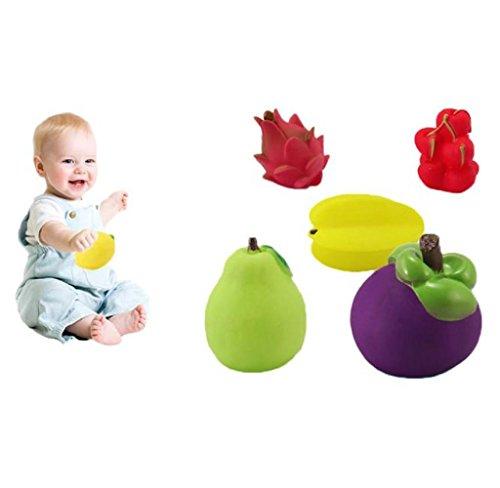 Rukiwa 6Pcs Baby Toddler Cute Soft Rubber Float Sound Baby Wash Bath Play Fruits Toys