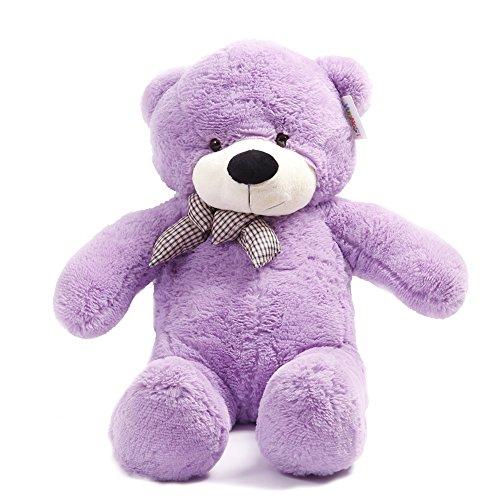 Celoz Giant 47 Cream Color Lovely 120cm Big Fluffy Baby Plush Toy Home Bedding Stuffed Teddy Bear Purple