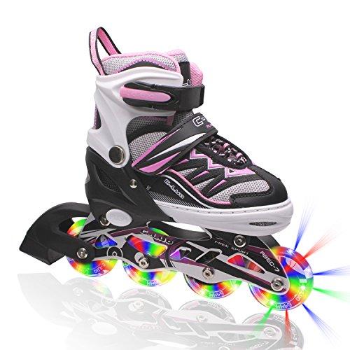 Kuxuan Girls Cira Adjustable Kids Inline Skate with Light up Wheels Pink M