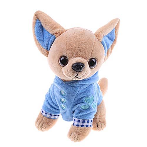 Blackzone 17cm Cute Mini Chihuahua Dog Plush Toy Soft Stuffed Animal Doll Birthday Gift Lovely Blue