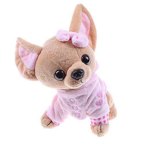 LeSharp Dolls Stuffed Toys 17cm Cute Mini Chihuahua Dog Plush Toy Soft Stuffed Animal Doll Birthday Gift - Pink