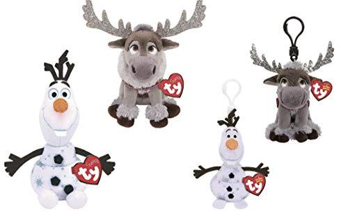 ReBL LLC Ty Sparkle Disney Movie Frozen 2 Plush Stuffed Animal Dolls Toys Bundle Olaf Sven