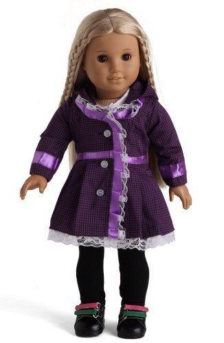 3pc Purple Plaid Jacket White Shirt Black Leggings Fits 18 American Girl Dolls 18 Doll Clothing Clothes