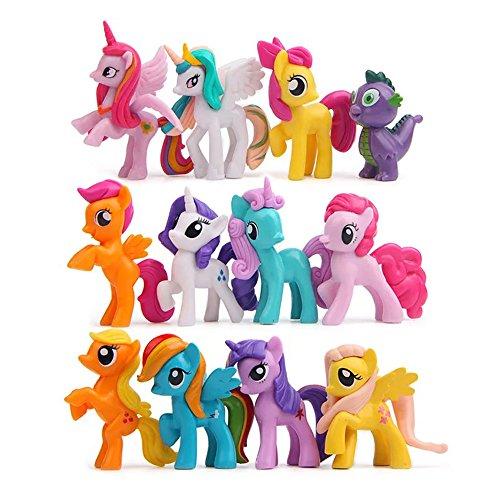 QTFHR 12 pcs 1 set Little Pony Toys Figurines Playset Cake decoration