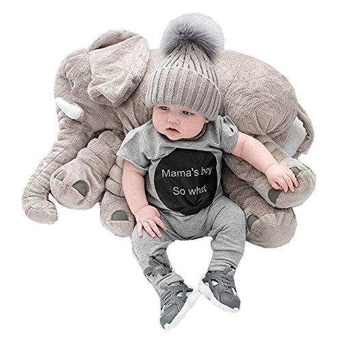 Kiicco Baby Elephant Doll Stuffed Elephant Plush Pillow Kids Toy Sleeping Pillow Large Gray