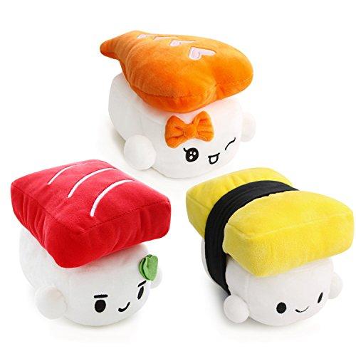 Sushi Cushion 6 15cm x 3 set Egg Shrimp Tuna by Choba Cute Plush Pillow Cushion Doll Toy Bedding Room Decoration Kawaii