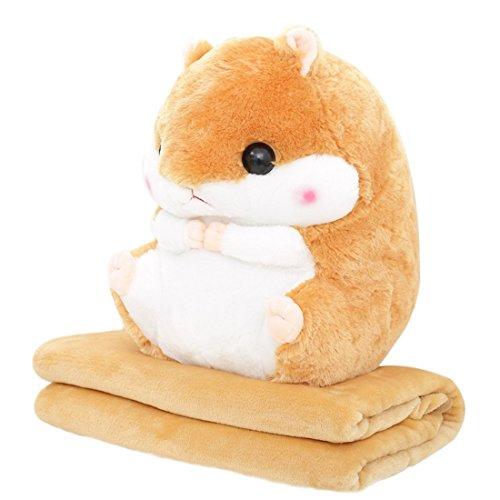 YunNasi Baby Blanket Cute Plush Hamster Toy Pillow 197inch Stuffed Animal Light BrownBlanket