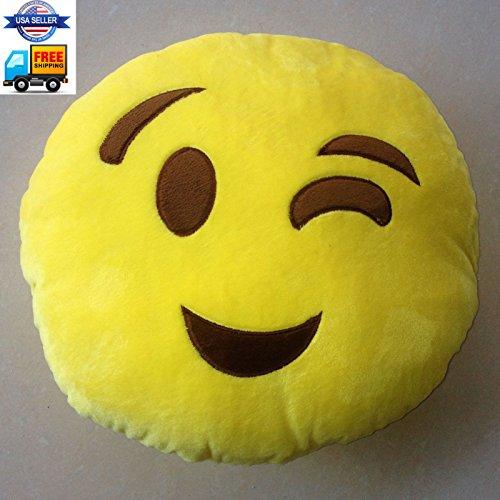 Blink 32cm Emoji Smiley Emoticon Yellow Round Cushion Pillow Stuffed Plush Soft Toy