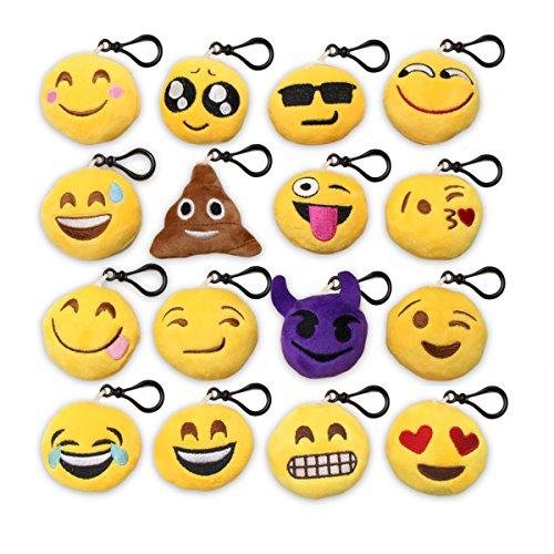 Comsmart 16 Pack 2 Emoji Plush Handbag KeyChain Fobs Kids Party Favors Emoticon Pillow Pack of 16